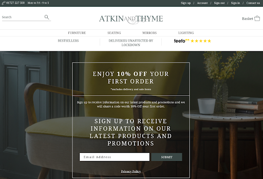 Atkin & Thyme opt in page